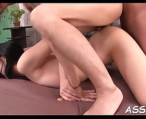 Banging and toying oriental babe's ass fucking