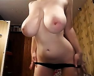 The Most Awesome Pair of TITS you'll see today! Naturally buxomy girl strips and masturbates. 100% real giant boobs, incredible fledgling juggs on a slender chick.