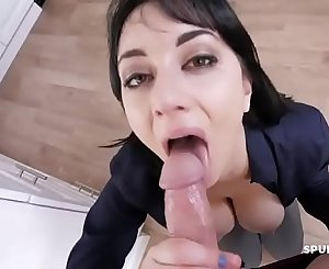 Step mom sucking son's cock before work