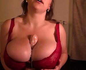 Busty Samanta Lily Bbw Tittyfucks Dildo with her Huge Tits in Red Bra